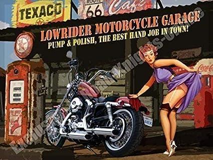 Harley Davidson Chopper /& Pompe Vernis Vintage M/étal//Acier Panneau Mural 9 x 6.5 cm Aimant RKO Lowrider Moto Garage