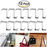 BESTOMZ 12pcs Over Door Hanger, Stainless Steel Over Door Hooks Cabinet Draw Clothes Hanger