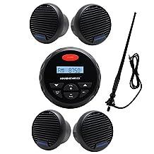 "MarineMaxx 4"" Marine Stereo Bluetooth Marine Gauge Audio Radio Receiver FM AM USB MP3 AUX Input Round/Circle +2 Pairs of 3 inch Waterproof Marine Speaker+Marine FM AM Radio Antenna Black"