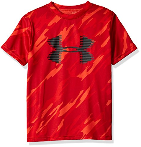 Under Armour Boys' Tech Big Logo Printed T-Shirt, Radio Red (890)/Charcoal, Youth ()