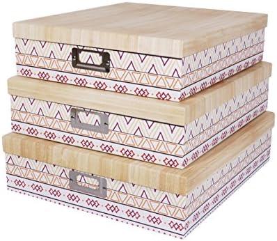 SLPR Cajas de Cartón para Almacenamiento de Oficina Ethnic (Conjunto de 3) | Cajas de Cartón con Tapa para almacenar Recuerdos, Juguetes, Fotos, Armario, ...