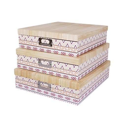 SLPR Decorative Storage Cardboard Boxes with Metal Plate (Set of 3, Ethnic) | Nesting Gift Boxes with Lid for Keepsake Toys Photos Memories Closet Nursery Office Bedroom Decoration by SLPR