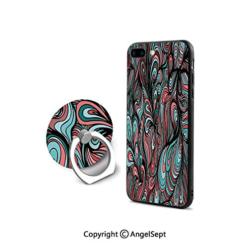 Protective Case for iPhone 8/iPhone 7 with Ring Holder Kickstand,Absurd Shapes with Dim Colors in a Grunge Inspired Abstract Art Work Watercolor Print Decorative,Retail Packaging,Multicolor
