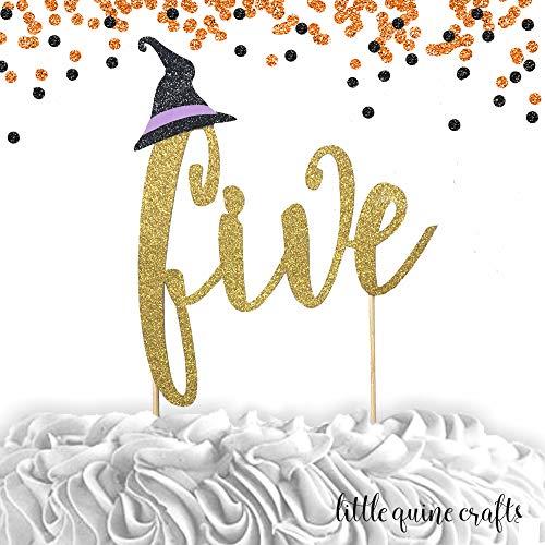 1 pc five wizard witch hats cake topper black glitter purple orange halloween theme fifth birthday boy girl fall autumn party ()