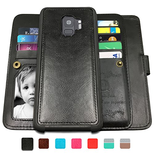 (Galaxy S9 Cases,Magnetic Detachable Lanyard Wallet Case with [8 Card Slots+1 Photo Window][Kickstand] for Galaxy S9, CASEOWL 2 in 1 Premium Leather Removable TPU Case(Black))