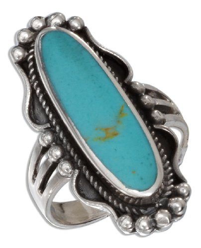 Sterling Silver Oval Simulated Turquoise Ring with Rope and Beaded Edging