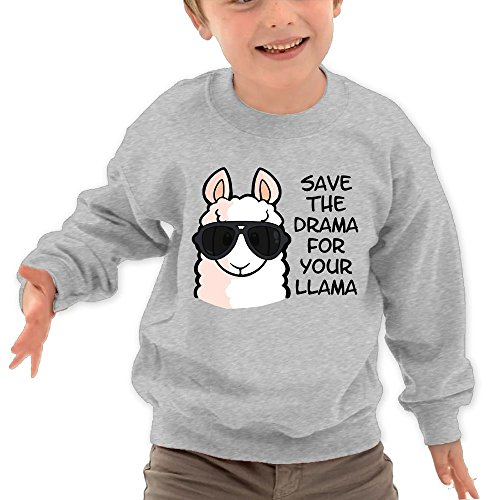 Puppylol Save The Drama For Yo' Llama Kids Classic Crew-neck Pullover Hoodie Ash 5-6 Toddler