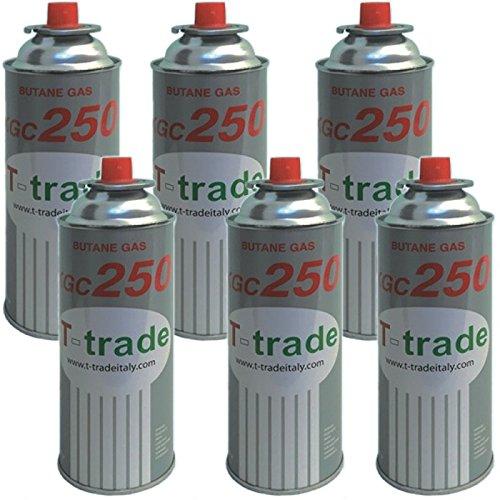 Bombolette Gas Butano Multipack 6 pezzi 250 Grammi Fornelli Campeggio Casa TRADE