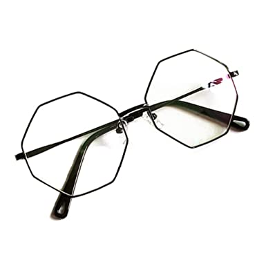 e2685f64c9 Men Women Polygon Glasses - Clear Lens Glasses Frame - Fashion Eyeglasses  Eyewear - hibote