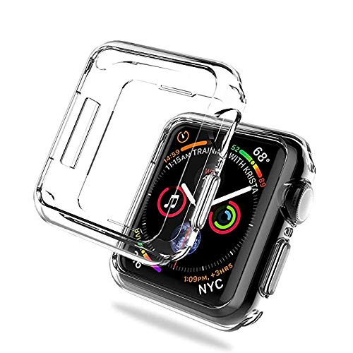 Case Compatible for Apple Watch 4,Steanum Soft TPU Case Clear HD Protector Cover Shockproof Scratch & Shatter Resistant Protective Case for Apple Watch Series 4 44mm 2018