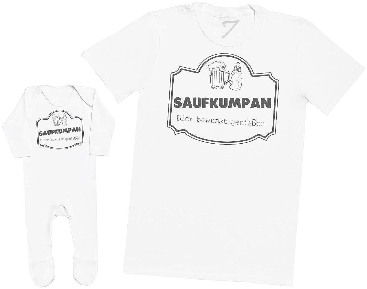 Milch bewusst genie/ßen T-Shirt /& Baby Strampler Baby Schlafanz/üge Bier bewusst genie/ßen - Passende Vater Baby Geschenkset Saufkumpan