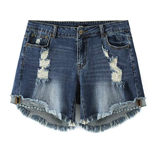MSSHE Women's Plus Size Destroyed Washed Short Jeans Pants Denim Shorts 16W