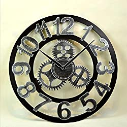 MODE HOME 3D Retro Rustic Vintage Wooden 16-Inch Noiseless Gear Wall Clock Industrial Wall Clock