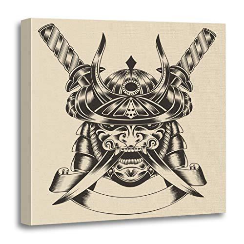 Semtomn Canvas Wall Art Print Helmet of Mask Samurai Warrior Katana Sword Demon Sketch Artwork for Home Decor 12 x 12 - Warrior Helmet Samurai