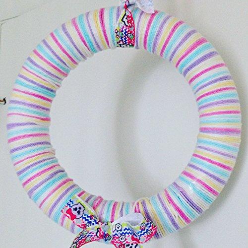 Yarn Wreath (Candy Skulls Pastel Yarn Girl Bedroom Wreath)