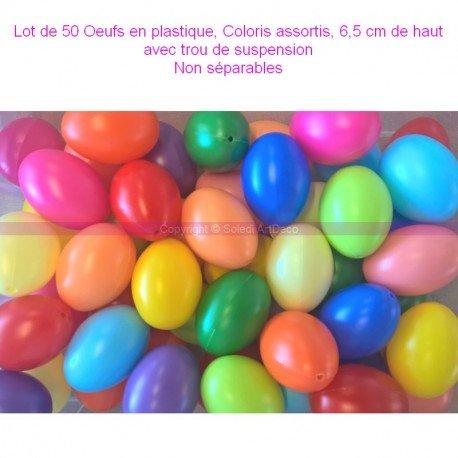 Lotto di 50uova in plastica, colori assortiti, 6,5cm di alto, ideale per la caccia alle uova di Pasqua, non separabili Lealoo®