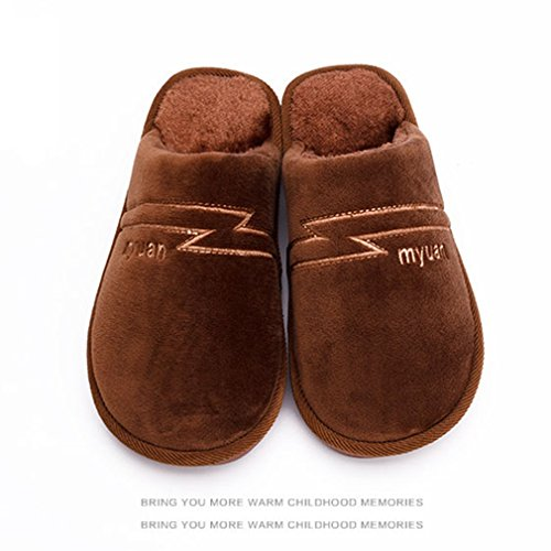 Giy Hiver Chaud Femmes / Hommes Couples Pantoufles Fourrure Intérieur Doux En Peluche Confortable Pantoufles Anti-dérapant Maison Pantoufle Brun