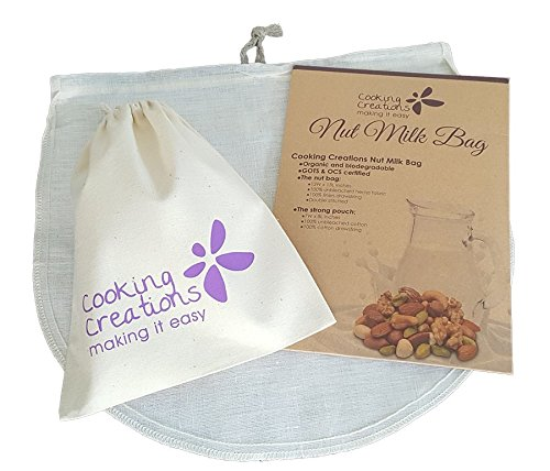 Organic Nut Milk Bag and Food Straining Bag (a large 12x13