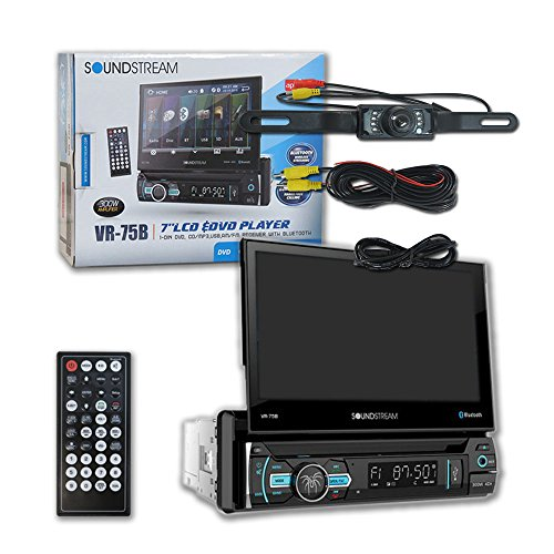 "Soundstream VR-75B Single DIN 1DIN 7"" Touchscreen Car DVD CD receiver Bluetooth + DCO Water-Proof and Night Vision back-up Camera"