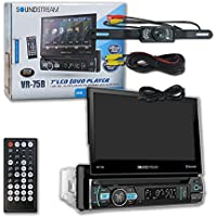 Soundstream VR-75B Single DIN 1DIN 7 Touchscreen Car DVD CD receiver Bluetooth + DCO Water-Proof and Night Vision back-up Camera