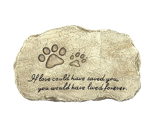 PetBuddy Pet Memorial Stones – Engraved Pet Headstones for Unforgettable Memories – Durable Polyresin Stepping Stone with Paw Print Pet Grave Markers for Outdoor Garden Backyard and Lawn