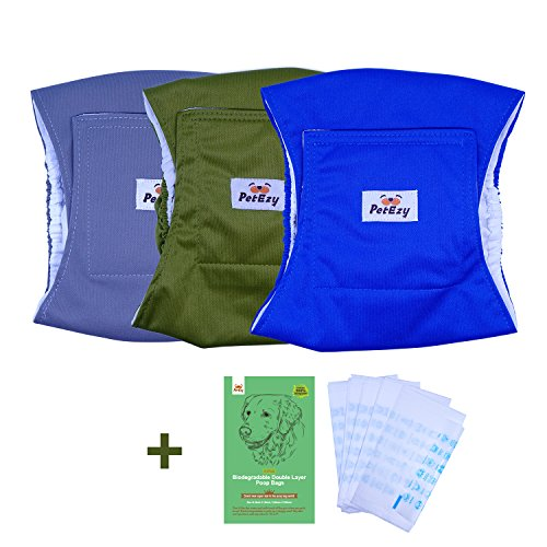 PetEzy Puppy Diapers Male(Pack of 3)- Male Dog wrap,Dog Diapers(New Designed Double Layer Poop Bag Bonus Included) by PetEzy