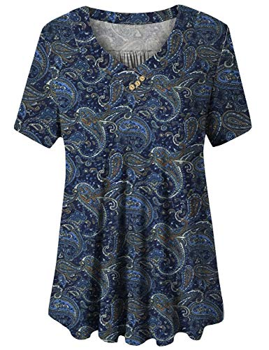 U.Vomade Womens Tunic Top Short Sleeve Bright Blouses Plus Size Shirt Summer 02 XXXL (Flower Print Swing)