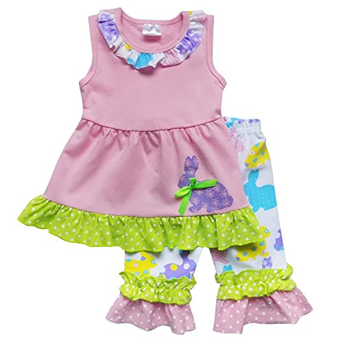 (So Sydney Toddler Girls 2 Pc Easter Bunny Pastels Top and Pants Holiday Outfit (XS (2T), Bunny Tunic Multi))