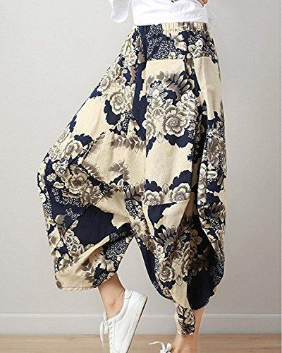 Blau Aladin Palloncino Di Fiore Vintage Estivi Lanterna Casuale Stile Elegantechic Donna A Moda Weimilon Baggy Pantaloni Etnico Hippie Stampa Pluderhose Harem 1qAwHWR