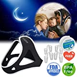 Anti Snoring Chin Strap for Men and Women, Ajustable Stop Snoring Solution with Nose Vents Anti Snoring Devices Sleep Aids Snore Stopper Chin Straps for Snoring Sleeping Mouth Breathers (Black)