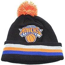 NBA Officially Licensed New York Knicks Mitchell & Ness Knit Black Striped Cuffed Orange Pom Beanie Hat Cap Lid