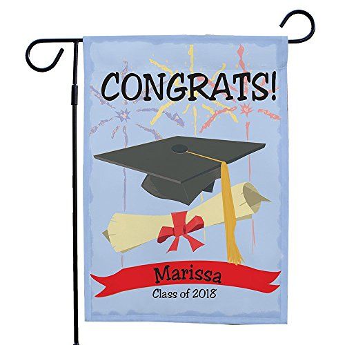 """GiftsForYouNow Graduation Congrats Personalized Double Sided Garden Flag, 12 1/2"""" w x 18"""" h, Polyester For Sale"""