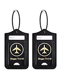 WALNEW Travel Luggage Tags - Suitcase Label Baggage Case Handbag Tags with Stainless Steel Ring Lock (Set of 2 Tags, Black)