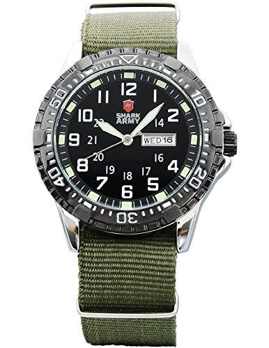 Shark Army Men's Nylon Band Date Day Watch, Green Nylon Strap Fashion Casual Military Analog Black Dial Quartz Sport Bracelet Mens Wrist (Military Quartz Bracelet)