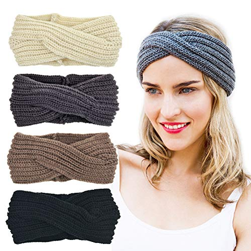 Crochet Cross (DRESHOW Crochet Turban Headband for Women Warm Bulky Crocheted Headwrap (4 pack cross: black, ivory, khaki, gray))