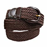Belts Best Deals - Luxury Divas Brown Braided Elastic Stretch Belt Size Medium