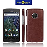 For Moto G5 Plus -- RayKay Luxury High Quality Cowboy Leather Case Fitbest Ultra Thin Back Cover For Motorola Moto G5 Plus - Brown