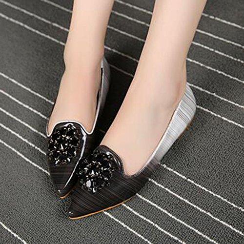 Aisun Women's Rhinestones Pointed Toe Dressy Low Top Slip On Flat Court Shoes Black keX89CCMC