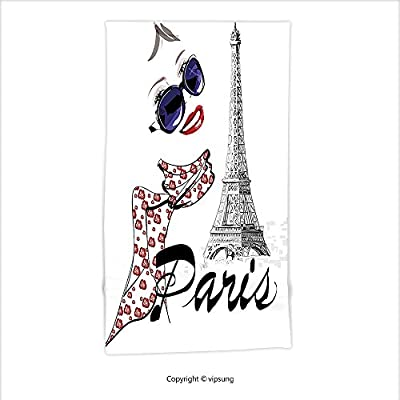 Vipsung Microfiber Ultra Soft Hand Towel-Paris Sketchy Image Of A Woman Smiling With Scarf And Landmark Eiffel Tower Dark Blue Black And White For Hotel Spa Beach Pool Bath