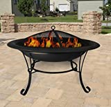Cheap Clevr 30″ Circle Metal Firepit Backyard Patio Garden Bon fire heater Pit