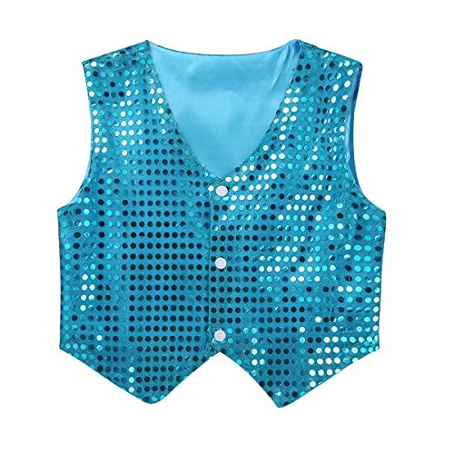 Agoky Kids Boys Glittery Sequined Shirt Vest Jacket Shiny Waistcoat for Prom Dance Stage Performance Light Blue 7-8 ()