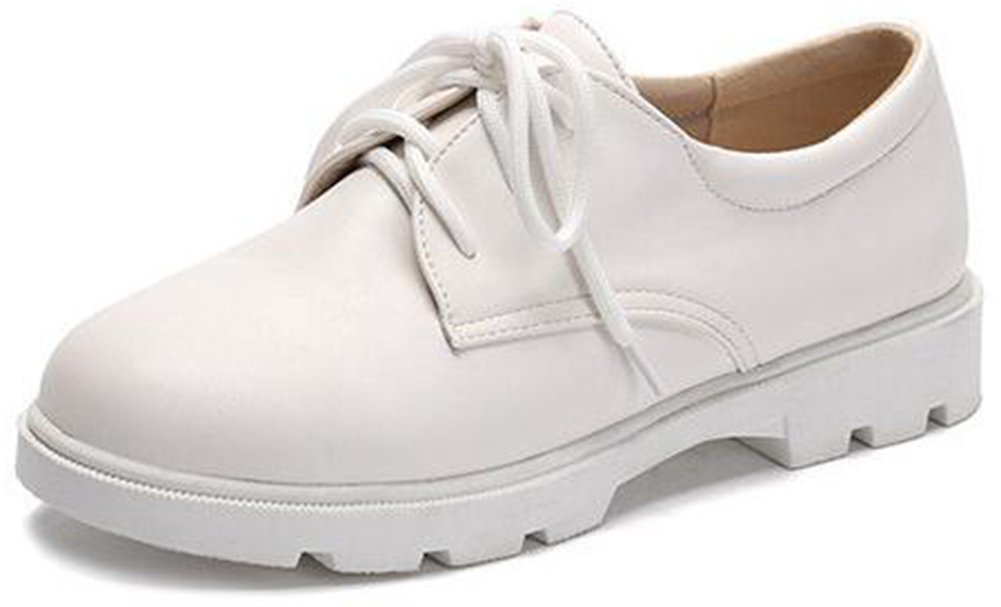 Summerwhisper Women's Casual Round Toe Low Top Lace-up Low Heel Platform Oxfords Shoes White 4.5 B(M) US