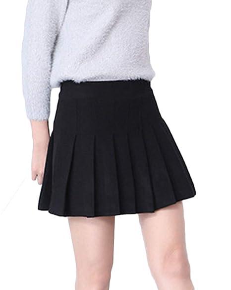 Mujeres Falda Tenis Plisada Cintura Elástica Uniforme Escolar para ...