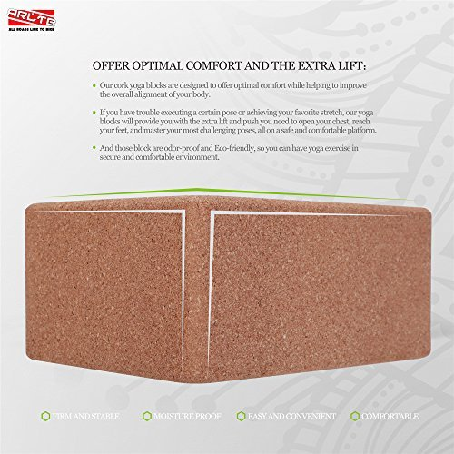 "ARLTB Cork Yoga Block 2 Pack and yoga Strap Set with Metal D Ring 4""x6""x9"" Cork Yoga Bricks and 8' Yoga Strap Natural and Sustainable Material for Any Type of Yoga Styles"