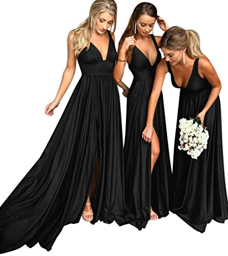 Bridesmaid Dresses Long V Neck Backless Split Beach Wedding Evening Prom Dress for Women Black - And Bridesmaids Dresses Gowns Bridal