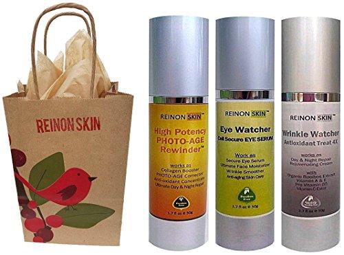 [REinONSkin] The Luxurious Organic REINON SKIN Photo -Age Rewinder Skincare Gift Set includes Eye Watcher Cell Secure Eye Serum ($79/50ml), High Potency PHOTO-AGE Rewinder ($92/50ml) and Wrinkle Watcher Antioxidant Treat ()