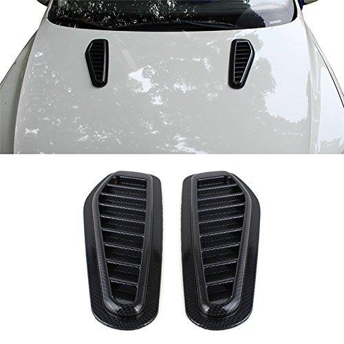 2pcs Car Auto Decorative Air Flow Intake Scoop Turbo Bonnet Vent Cover Hood For Fender Black Imitation Lasasa