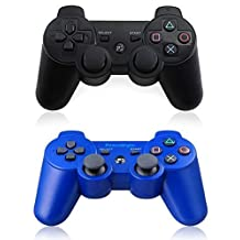 XFUNY(TM) Pair of 2 Wireless Bluetooth Game Controllers for Sony PlayStation 3 PS3 Double Shock - (1 Black + 1 Blue)