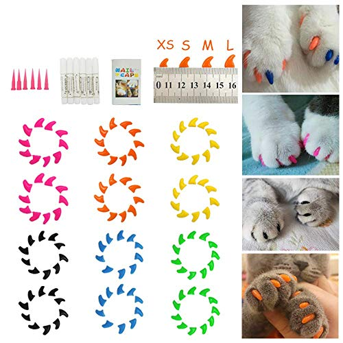 (Dadiii Soft Cat Nail Caps, 120PCS Soft Claws Paws Nail Covers for Pet Cat and Dog to Protect Furniture 6 Colors + 6 Pcs Adhesive Glue and Applicators, Options of 3 Size (M Size))