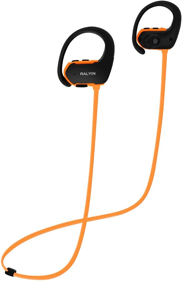 Ralyin Bluetooth Headphones MP3 Player Wireless Earbuds Sport Headset Built in 8GB Memory Micro SD Card Storage Sweatproof Earphones for Running Gym Workout Walkman (Orange)
